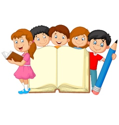 Cartoon kids with book and pencil vector