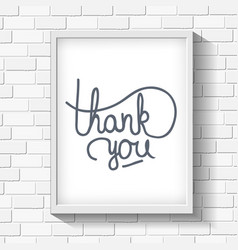 Thank you hand-drawn lettering on brick wall vector