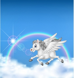 Beautiful pegasus flying on rainbow background vector