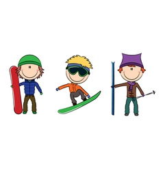 Snowboard and skis vector