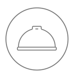 Restaurant cloche line icon vector
