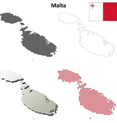 Malta outline map set vector