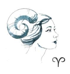 Watercolor aries girl vector image