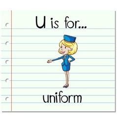 Flashcard letter U is uniform vector image