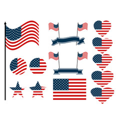 american flag set collection of symbols vector image