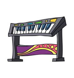 An electronic piano is placed vector image