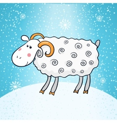 Beautiful cute sheep symbol of the new year vector image vector image