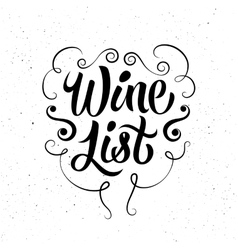 Black-white calligraphic retro wine list design vector image