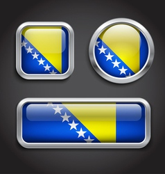 Bosnia Hercegovina flag glass buttons vector image vector image