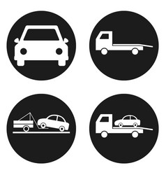 Car wrecker icons set in circle button vector