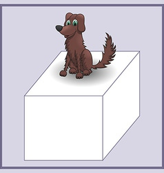 Cartoon dog on advertizing banner of cube vector image vector image
