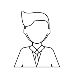Cartoon young man with suit tie employee thin line vector
