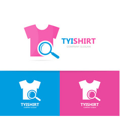 cloth and loupe logo combination shirt vector image vector image