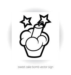 cupcake with cream and dynamite vector image vector image