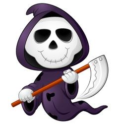 Cute cartoon grim reaper vector