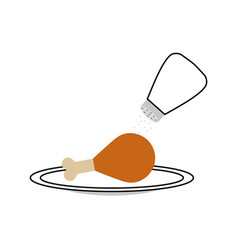 Delicious chicken meat with salt shaker vector