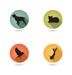 Dog and cat set collection of pets icon silhouette vector