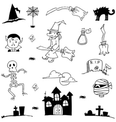 Doodle in element halloween cute and flat vector image