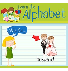 Flashcard alphabet h is for husband vector
