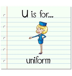 Flashcard letter u is uniform vector
