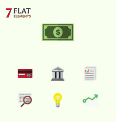 Flat icon finance set of bubl growth greenback vector