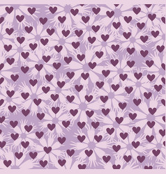 flower pattern with hearts seamless background vector image vector image