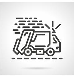 Garbage truck black line icon vector
