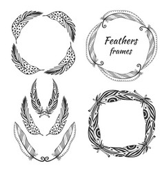 hand drawn stylized frame collection with vector image vector image