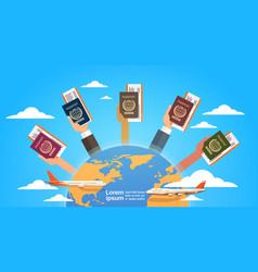 hands group holding passport ticket boarding pass vector image vector image