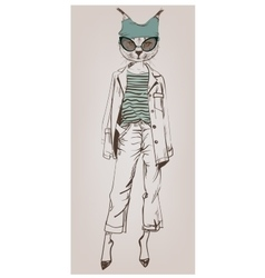 hipster character of bobcat with glasses vector image