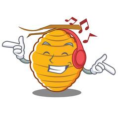 Listening music bee hive character cartoon vector