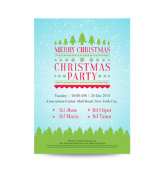 Merry christmas invitation poster with snowfall vector