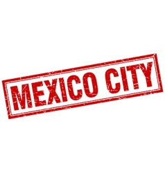 Mexico city red square grunge stamp on white vector