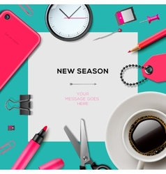 New season template with office supplies vector