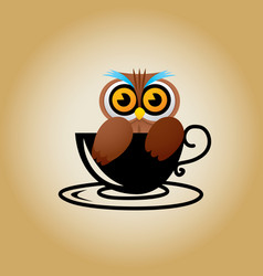 Owl logo coffee vector