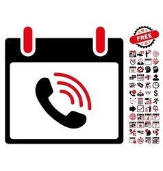 Phone call calendar day flat icon with vector