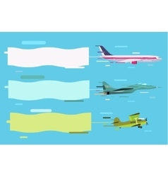 Plane flying with advertising banners vector