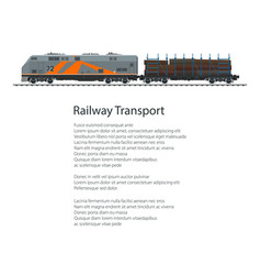 Poster locomotive with railway platform vector