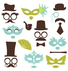 Retro Party set - Glasses hats lips mustaches mask vector image vector image