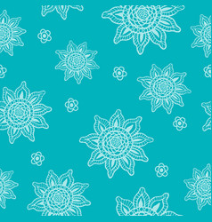 seamless color pattern with hand-drawn flowers vector image