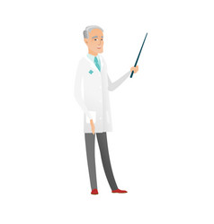 Senior caucasian doctor holding pointer stick vector
