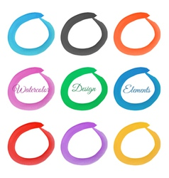 Set of hand drawn watercolor rings Watercolor vector image