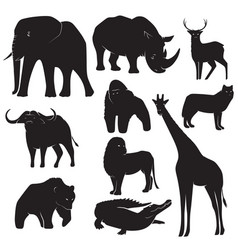 set of wild animal silhouettes vector image