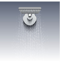 Shower head with water drops realistic vector