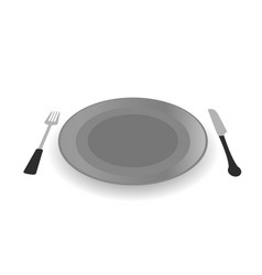 Steel plate with knife and fork vector