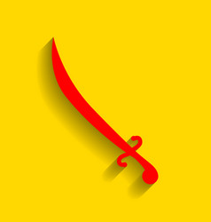 sword sign red icon with vector image