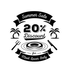 Twenty percent discount for meat lover logo vector