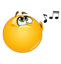 whistling emoticon vector image