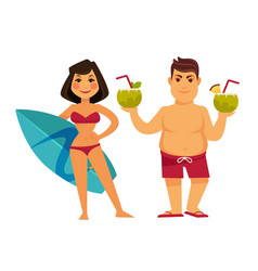 woman with surfing board and man holding cocktails vector image vector image