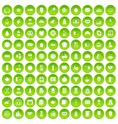 100 breakfast icons set green circle vector